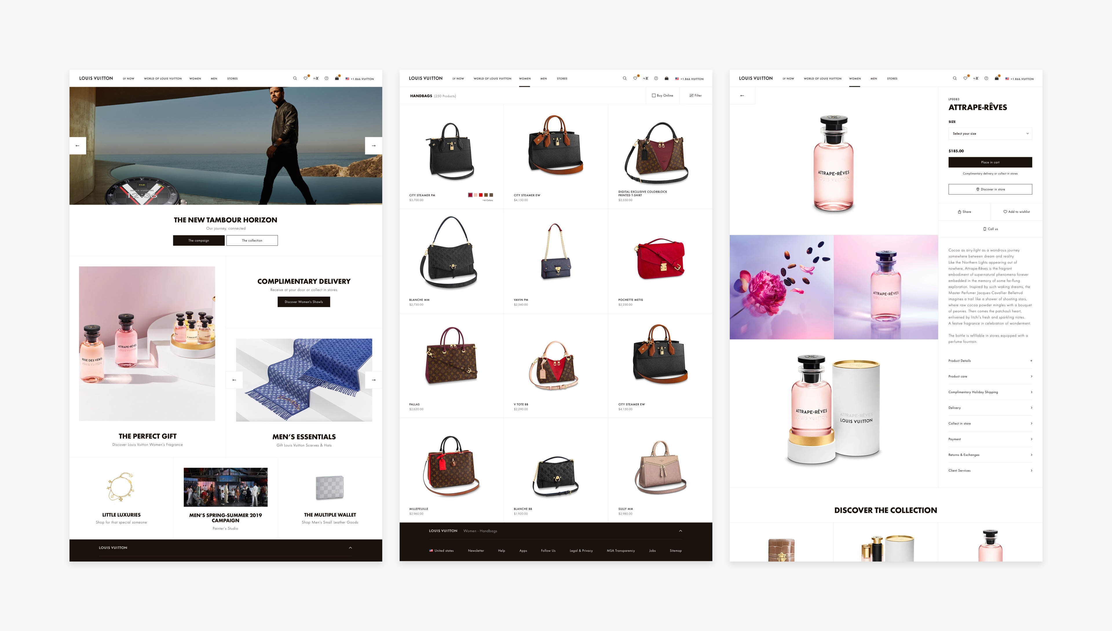 Louis Vuitton 3 main screens: Homepage, Category page and Product page